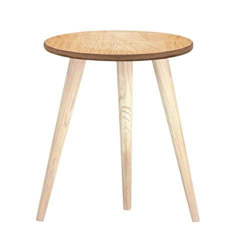 Tosel Maria 3 Mary Table Basse Ronde Bois Massif Naturel 26 X 26 X 33 Cm