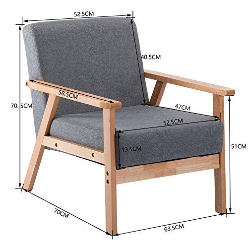 Dorafair fauteuil salon chaise r tro en bois et tissu rembourr e pour salle de s jour salle - Chaises salle a manger bois et tissu ...