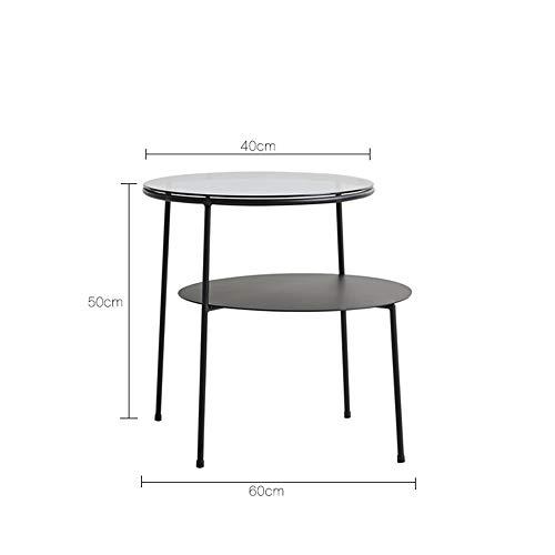 Haizhen Tables Basses Petite Table Basse Tables Gigognes Nordiques Canape Table De Chevet Balcon Table Transparente Grise En Verre Et Fer