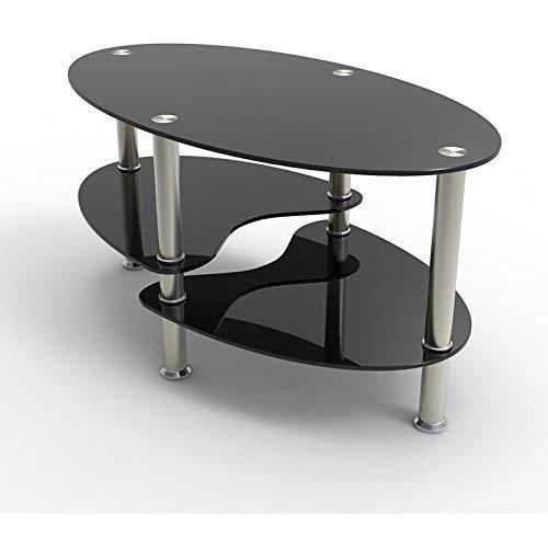 Mecor table basse table de salon en verre ovale clair avec Table de salon ovale