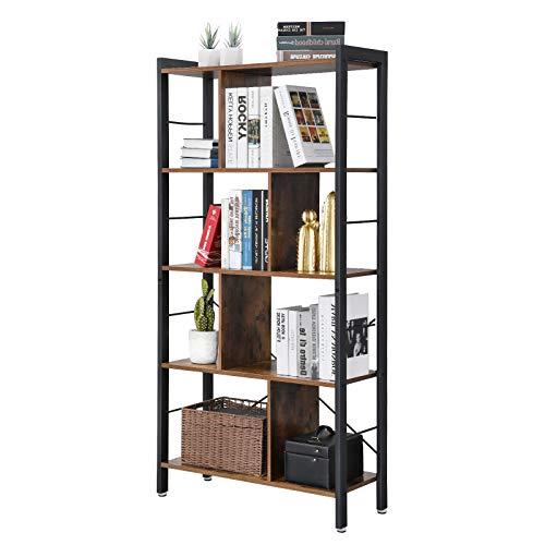 VASAGLE Bibliothèque de style industriel, Étagère de rangement à 4 niveaux, Meuble de rangement ...